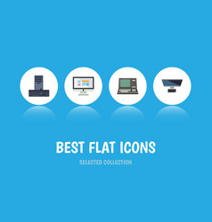 flat icon laptop set of technology processor pc vector image
