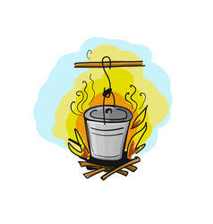 food cooked on fire vector image