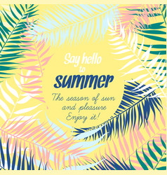 frame pattern tropical palm leaves greeting vector image