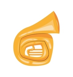 French horn cartoon icon vector
