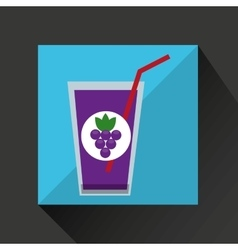 fresh juice grapes and cup glass straw design vector image