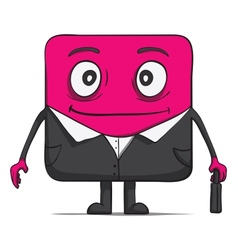 Funny cube dude businessman in suit Square vector image