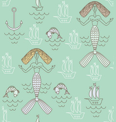 Funny marine mermaid with beige hair boats and vector