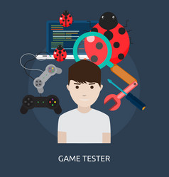 Game tester conceptual design vector