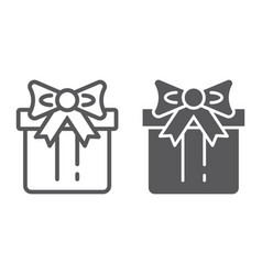 gift box line and glyph icon package and surprise vector image