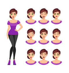 girl emotions set vector image