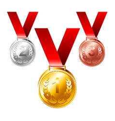 gold silver bronze medals three awards set vector image
