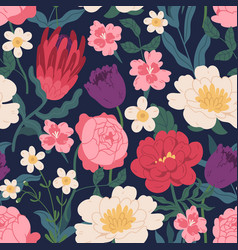 Gorgeous seamless pattern with peony roses tulips vector