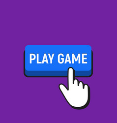 Hand mouse cursor clicks the play game button vector