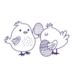 happy easter day cute chickens with eggs vector image