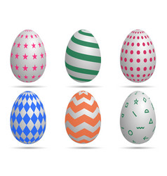 happy easterset easter eggs with different vector image