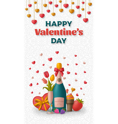 happy valentine day background with champagne vector image
