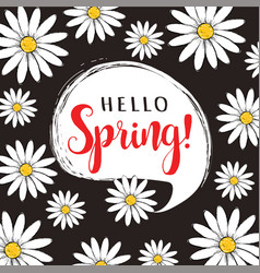 hello spring floral poster vector image