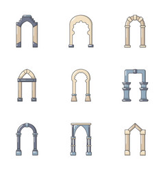 high arch icons set flat style vector image