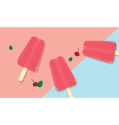 Homemade fruit popsicles with vintage background vector