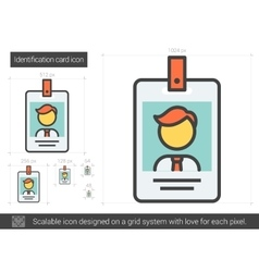 Identification card line icon vector