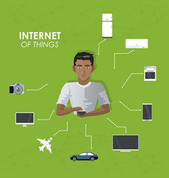 Internet things man with smartphone entertainment vector