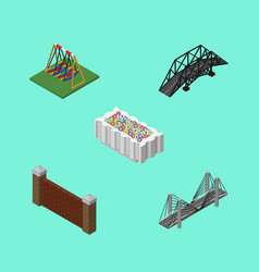 isometric city set of flower decoration vector image