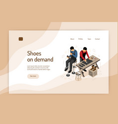 Isometric shoemaker concept banner vector