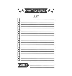 July monthly goals template vector