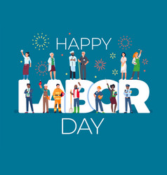 Labor day card with people international work vector