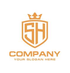 Letter sh initial logo luxury logo design vector