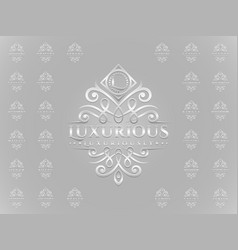 Luxurious letter logo set with silver embossed vector