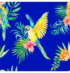 Macaw seamless pattern Palm leaves and tropical vector