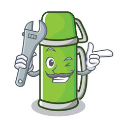 Mechanic thermos character cartoon style vector