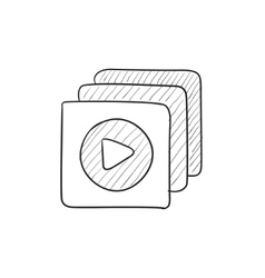 Media player sketch icon vector image