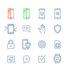 mobile security icons vector image vector image