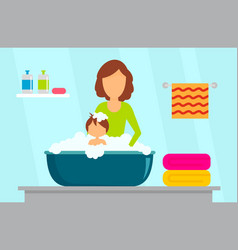 mother wash kid concept background flat style vector image