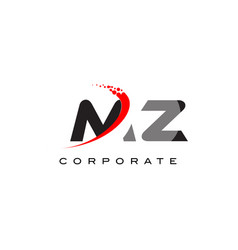 Mz modern letter logo design with swoosh vector