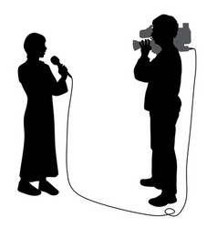 News reporter woman and cameraman making reportage vector