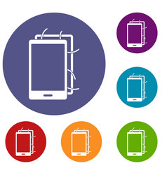 Opened phone icons set vector