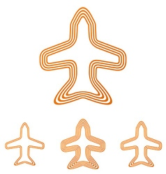 Orange line jet logo design set vector