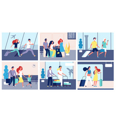 People airport tourists with suitcases vector