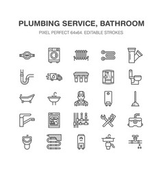 Plumbing service flat line icons house vector