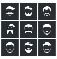 Retro mens hair styles icon set vector