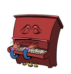 sad romantic emoji character emotion piano musical vector image