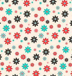 Seamless Retro Flat Design Flowers Background vector