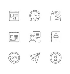 set line icons contact us vector image