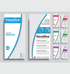Set narrow white flyers in 4 color options vector