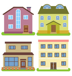 set of four private houses vector image