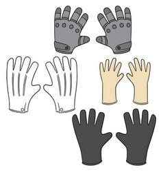 set of gloves vector image