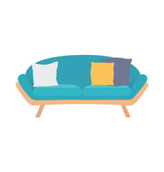 sofa blue colorful cartoon vector image