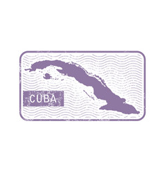 Stamp with contour of map of cuba vector