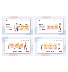 stomatology dentistry landing page template set vector image