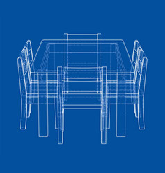 Table with chairs rendering of 3d vector