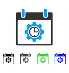 Time gear calendar day flat icon vector